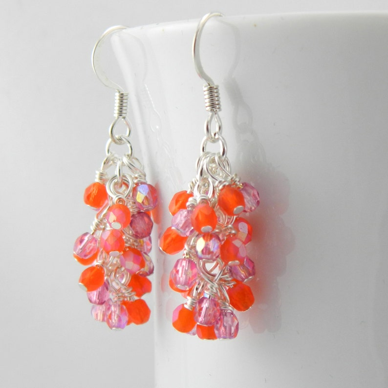 Pink and Orange Dangle Earrings with Sterling or Steel Ear image 0
