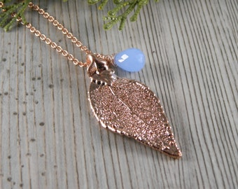 Rose Gold Laurel Leaf Necklace on 20 inch chain, Chalcedony and Leaf Necklace, Real Leaf Jewelry, Symbol of Success and Victory