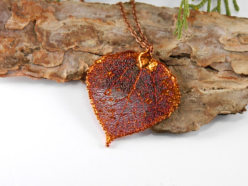 Autumn Aspen Leaf Pendant on Long Chain Copper Dipped Aspen image 0