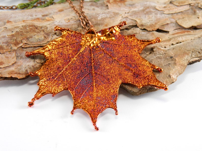 Preserved Maple Leaf Pendant on 30 inch Long Chain Copper image 0
