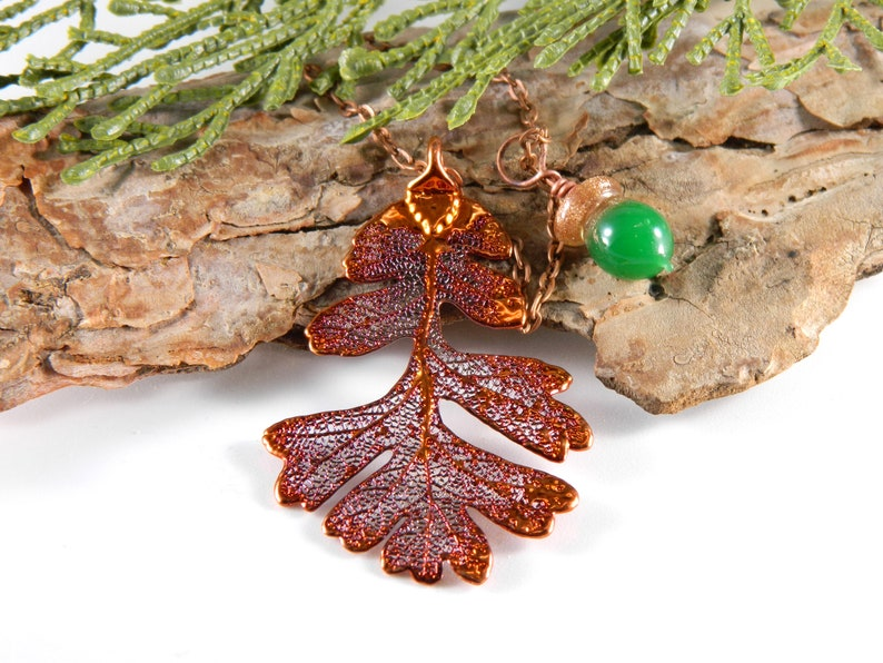 Copper Plated Oak Leaf Necklace with Green Glass Acorn Gift image 0