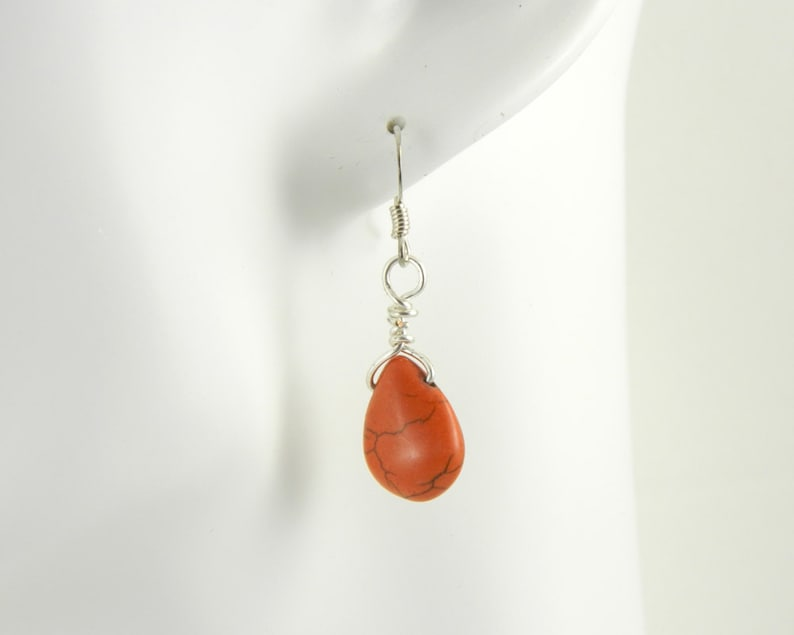 Orange Magnasite Drop Earrings image 0