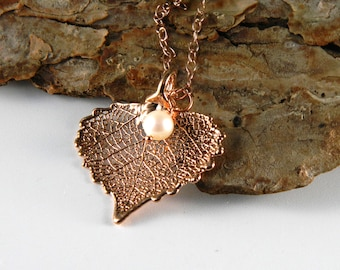 Rose Gold Plated Cottonwood Leaf Necklace, Small Heart Pendant and Pearl Necklace, Real Leaf Jewelry, 16 inch Chain, Gift for Tween