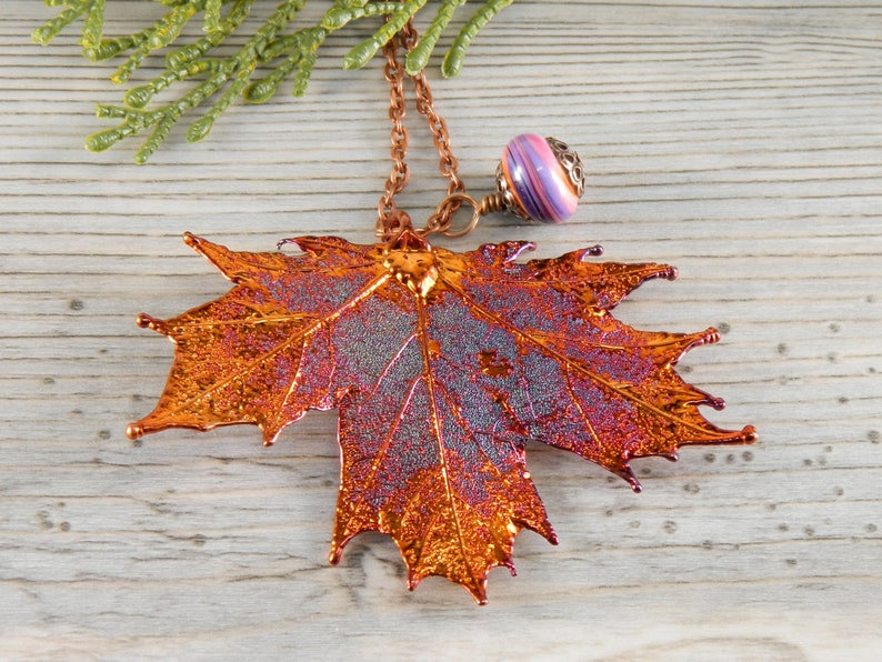 Electroplated Maple Leaf Pendant on 30 inch Long Chain image 0