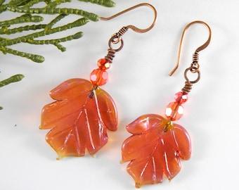Autumn Leaf Earrings, Orange Earrings, Fall Jewelry