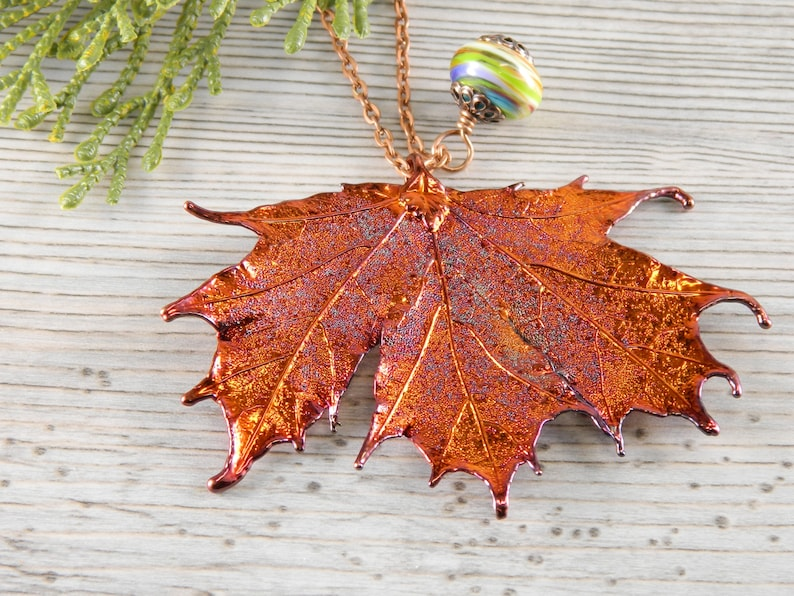 Preserved Maple Leaf Pendant on 36 inch Long Chain Copper image 0