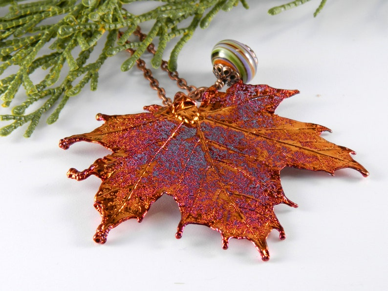 Iridescent Copper Electroplated Maple Leaf Pendant on 30 inch image 0