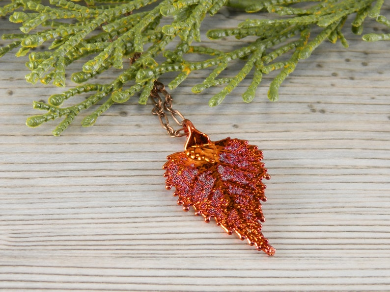 Autumn Birch Leaf Necklace with 16 inch Chain Small Copper image 0