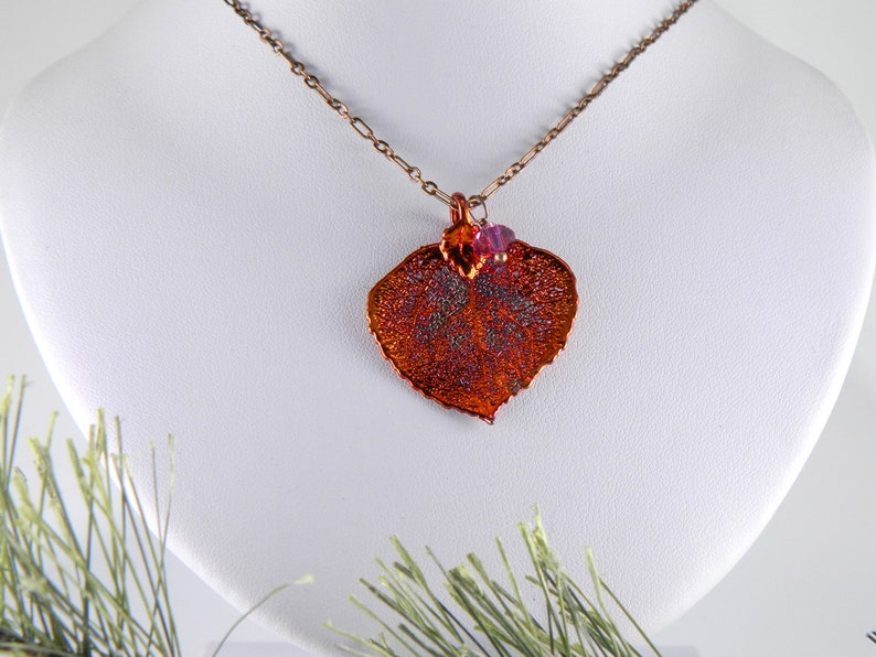 Small Copper Plated Aspen Leaf Necklace Real Leaf Pendant on image 0