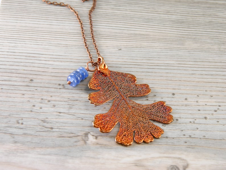 Copper Lacy Oak Leaf Pendant on 30 inch Long Chain with image 0