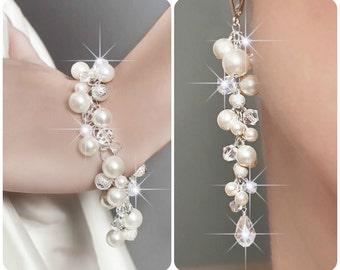 Wedding Jewelry SET, Wedding Pearl Jewelry SET, Swarovski Jewelry SET, Pearl Cluster Bracelet and Earrings, Bridal Jewelry Set