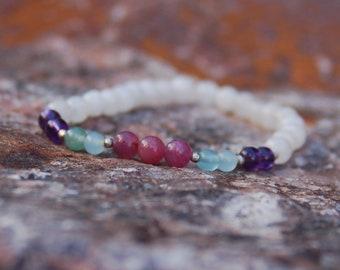 "Multigemstone Bracelet - Friendship Bracelet - Gemstone Bracelet - ""Sis"""