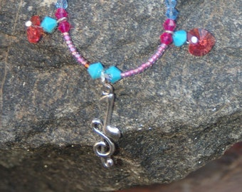 "Music Note Charm Necklace, Treble Clef Charm Necklace, Beaded Music Note Necklace, ""The Elated Voice"""