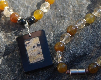 """Sale -  Fire Agate and Citrine Polymer Clay Pendant - Gemstone Necklace - """"After the Fire"""""""