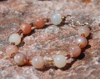 "Multicolored Moonstone and Sapphire Bracelet - Friendship Bracelet - Gemstone Bracelet - ""Buttercup"""
