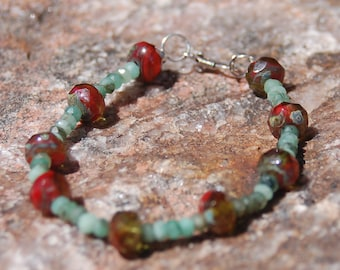 "Sale -  Emerald and Czech Glass Bracelet - Gemstone Bracelet - ""Bella"""
