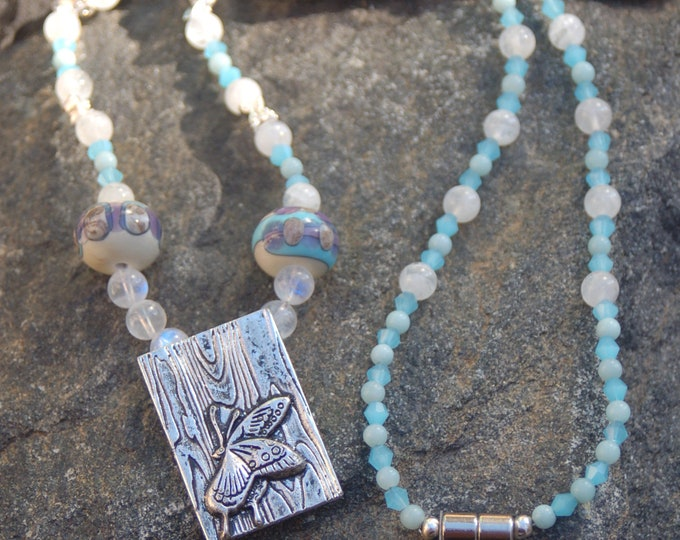 "Sterling Silver Butterfly Moonstone and Amazonite Necklace, Butterfly Necklace,""Butterfly Effect"""
