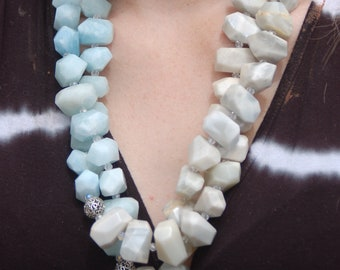 "Sale -  Aquamarine and Moonstone Nugget Necklace - Gemstone Necklace - ""Ocean Wave"""