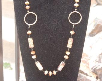 Sale -  Music Necklace - Paper Bead Necklace - Vintage Music Necklace