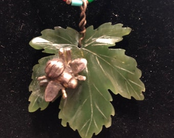 Jade Leaf with Silver Bumblebee on Vintage Silpada Choker
