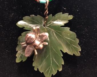 Jade Leaf with Silver Bumblebee on Vintage Silpada Choker