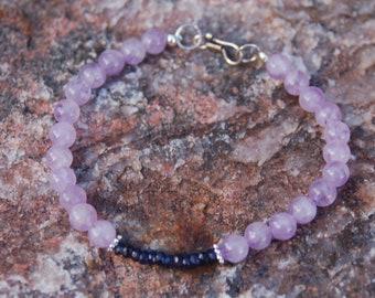 "Sapphire and Amethyst Bracelet - Friendship Bracelet - Gemstone Bracelet - ""Lil One"""