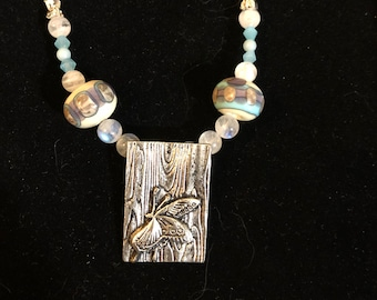 """Sterling Silver Butterfly Moonstone and Amazonite Necklace, Butterfly Necklace,""""Butterfly Effect"""""""
