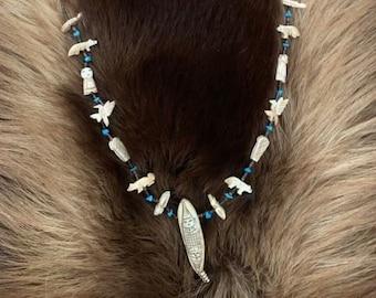Vintage Corn Maiden Bone Heishi and Turquoise Fetish Necklace