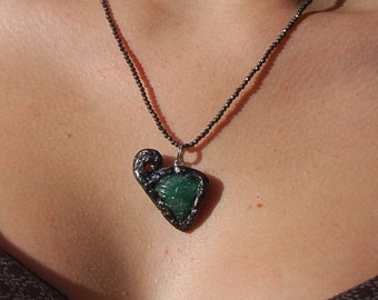 "Etched Emerald Necklace, ""The Flower"""
