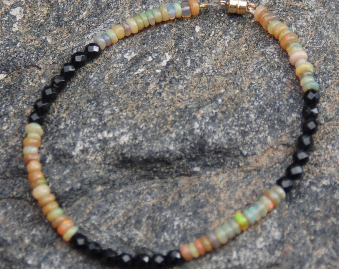 "Unisex Opal and Black Onyx Friendship Bracelet - Gemstone Bracelet - ""The Bumblebee"""