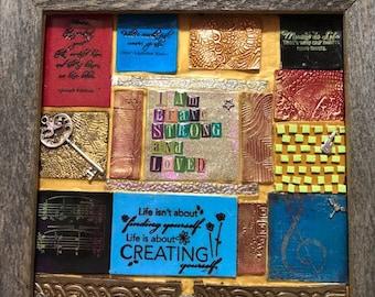 Custom Multimedia Mosaic Tile Wall Hanging - Custom Mosaic Wall Art