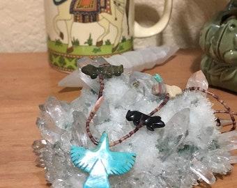 Sale -  Vintage Turquoise Multistone Fetish Necklace