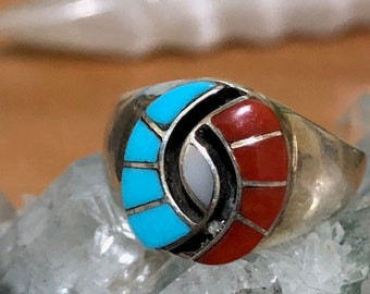 Sale -  Amy Quandelacy Turquoise and Coral Hummingbird Eye Ring Sz 10.5