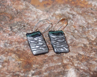 Sale -  Contemporary Polymer Clay Earrings, Dangle Earrings, Silver and Black Polymer Clay, Artisan Earrings, Statement Jewelry