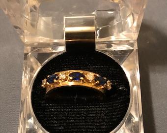 Men's 14K Gold Sapphire and Diamond Wedding Band w/Inscription Sz 10