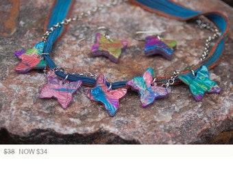 "Sale -  Polymer Clay and Ribbon Choker - Butterfly Choker - ""Krystina's Journey"""