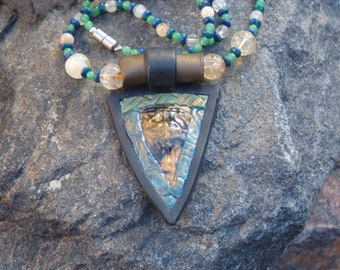 Malachite Azurite, Jade, and Citrine Necklace with Pendant