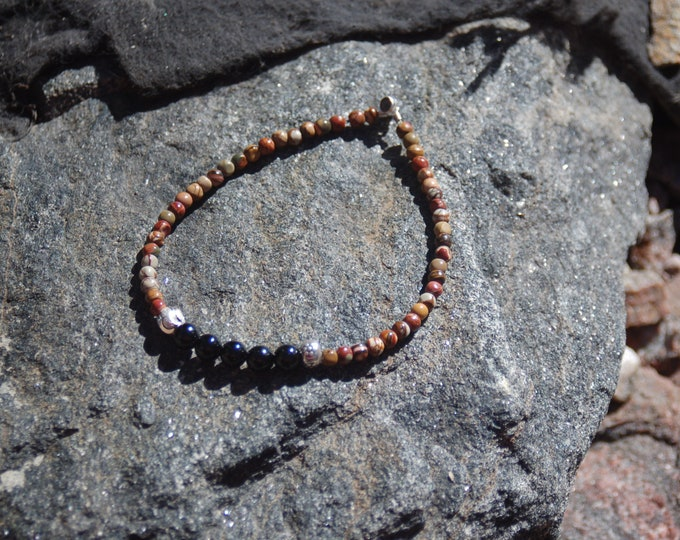 "Unisex Jasper Black Onyx and Sterling Silver Friendship Bracelet - ""Bro"""