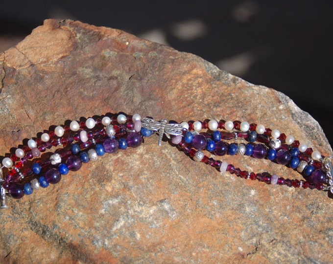 """Featured listing image: Dragonfly Gemstone Bracelet, Dragonfly Amethyst Garnet Pearl and Lapis Lazuli Bracelet, """"Advancing on Wings"""""""