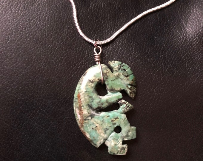 Vintage Green Turquoise Kokopelli Carving Necklace