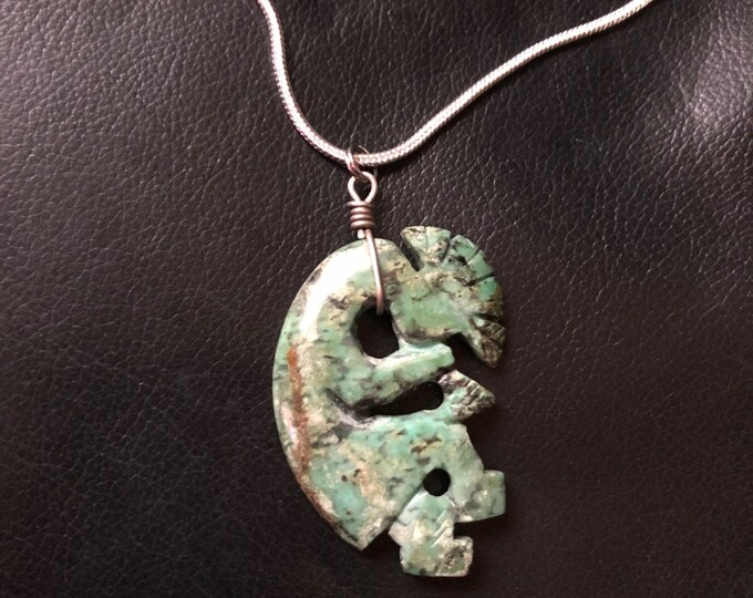 Vintage Turquoise Kokopelli Carving Necklace
