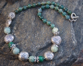 "Malachite and Silver Necklace, ""The Enlightened Empathizer"""