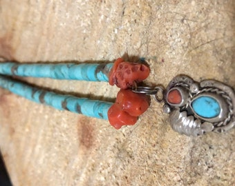 Vintage Santo Domingo Turquoise Heishi and Coral Necklace