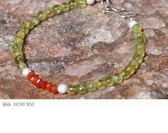 "Sale -  Peridot and Carnelian Friendship Bracelet - Gemstone Bracelet - ""Giggles"""