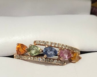 Retired Helzberg Multigem and Diamond Rose Gold Ring Size 7
