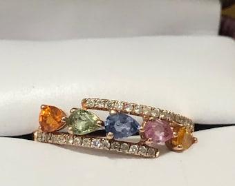 Retired Helzberg Multigem and Diamond Rose Gold Ring Size 7