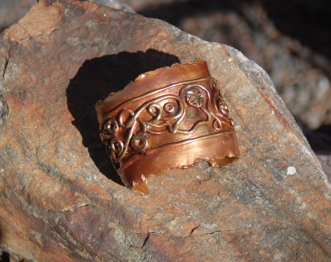 "Embossed Cuff Bracelet, Gold Cuff Bracelet, Gold Women's Bracelet, Tribal Art Jewelry ""Exalted Flame"""