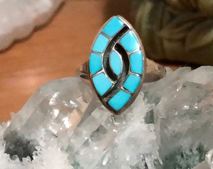 Native American Artist Signed Turquoise Inlay Vintage Sz 7 Ring / Zuni Sterling Silver Turquoise Channel Inlay Hummingbird Ring Signed EB