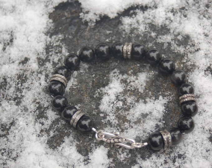 "Large Unisex Black Agate and Pave Diamond Bracelet, ""The Girlfriend"""