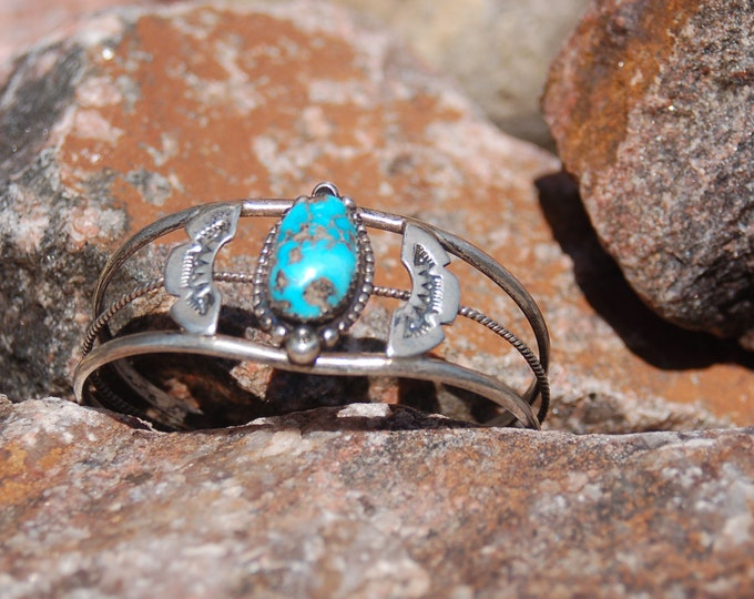 Vintage Navajo JERRY ROAN Signed Cuff Bracelet - Sterling Silver Cuff Bracelet